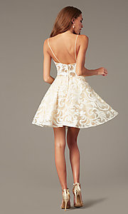 Image of sheer-waist embroidered short ivory party dress. Style: NC-265 Detail Image 2