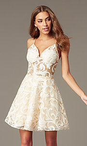 Image of sheer-waist embroidered short ivory party dress. Style: NC-265 Front Image