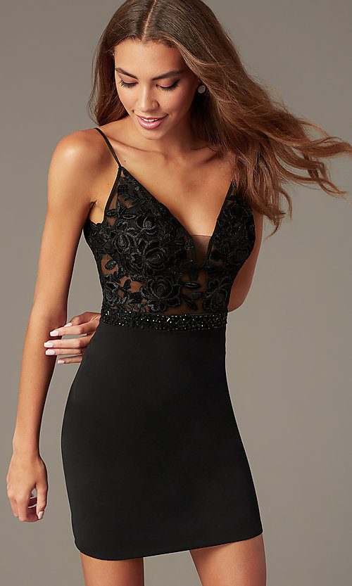 Image of short black homecoming dress with illusion bodice. Style: NC-233 Detail Image 1