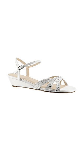 Lena White Open-Toe Wedge Sandal with Jewel Details
