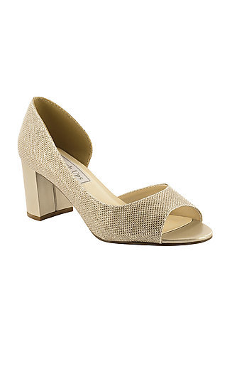 Joy Champagne Gold Peep-Toe Pump by Touch Ups