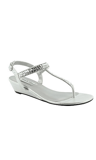 Kendra Wedge Sandal in Silver by Touch Ups