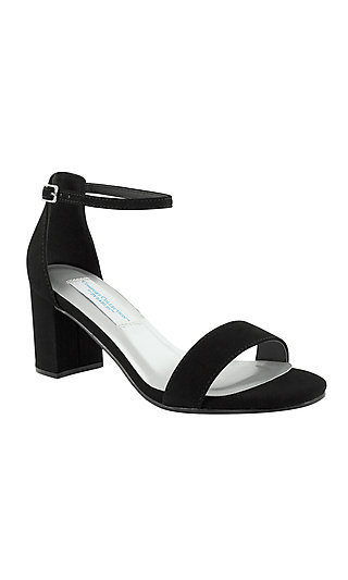 January Block-Heeled Sandal in Black Faux Suede