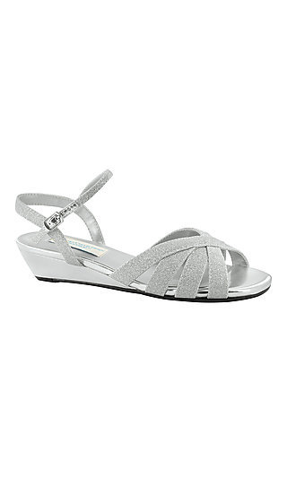 Open-Toe Silver Emma Sandal with a Short Heel