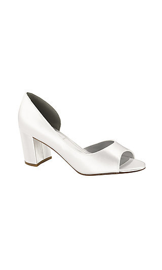 Block-Heeled Joy Peep-Toe Pump in White