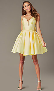 Image of short homecoming party dress with detachable bow. Style: JT-827 Front Image