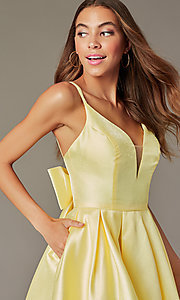 Image of short homecoming party dress with detachable bow. Style: JT-827 Detail Image 1