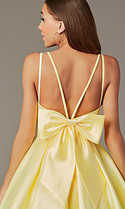 Image of short homecoming party dress with detachable bow. Style: JT-827 Detail Image 2