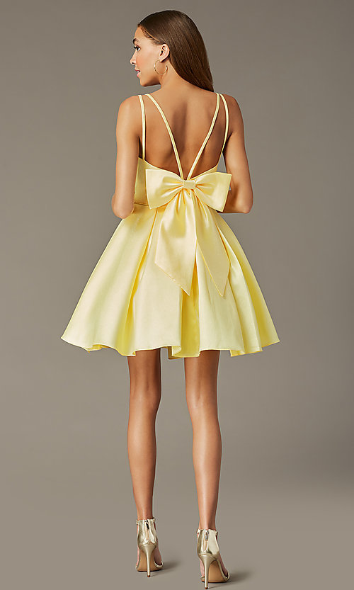 Image of short homecoming party dress with detachable bow. Style: JT-827 Back Image
