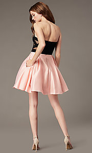 Image of short strapless homecoming dress with sheer sides. Style: JT-829 Back Image