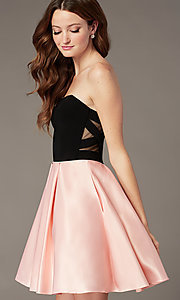 Image of short strapless homecoming dress with sheer sides. Style: JT-829 Front Image
