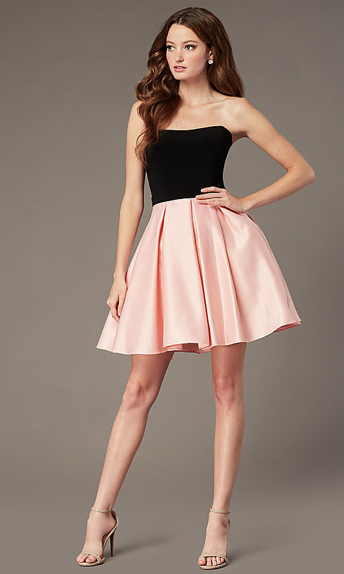 Image of short strapless homecoming dress with sheer sides. Style: JT-829 Detail Image 1