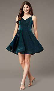 Image of peacock blue short glitter-knit party dress. Style: JT-832 Front Image