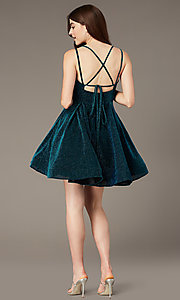 Image of peacock blue short glitter-knit party dress. Style: JT-832 Back Image