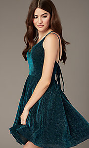 Image of peacock blue short glitter-knit party dress. Style: JT-832 Detail Image 2