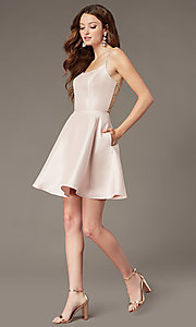Image of short satin homecoming dress with beaded straps. Style: JT-836 Detail Image 1