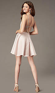 Image of short satin homecoming dress with beaded straps. Style: JT-836 Detail Image 2
