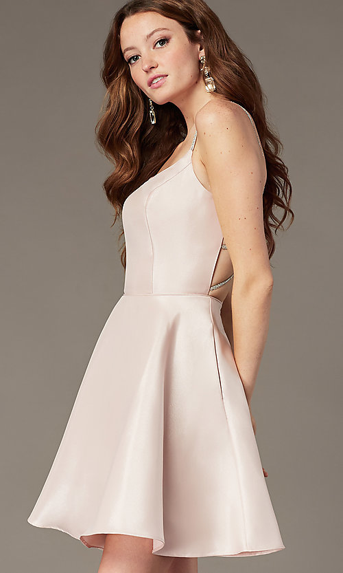 Image of short satin homecoming dress with beaded straps. Style: JT-836 Front Image