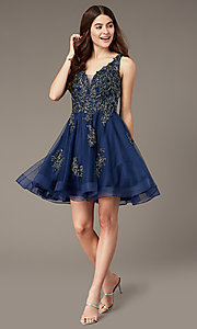 Image of sheer-back short homecoming party dress with beads. Style: JT-843 Front Image