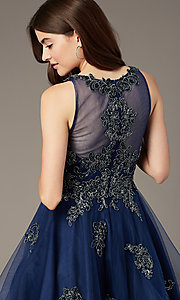 Image of sheer-back short homecoming party dress with beads. Style: JT-843 Detail Image 1
