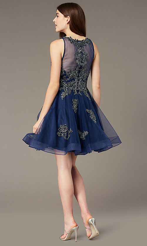 Image of sheer-back short homecoming party dress with beads. Style: JT-843 Back Image
