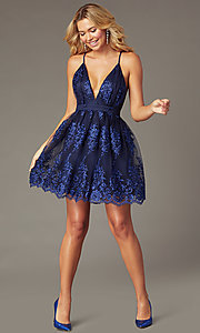 Image of short navy tone-on-tone embroidered hoco dress. Style: LP-25779S Front Image