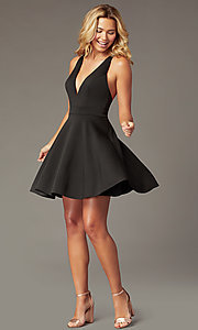 Image of deep-v-neck short fit-and-flare party dress. Style: LP-26429 Detail Image 5