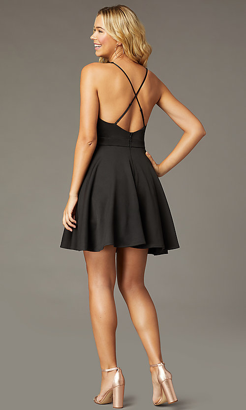 Image of deep-v-neck short fit-and-flare party dress. Style: LP-26429 Detail Image 6