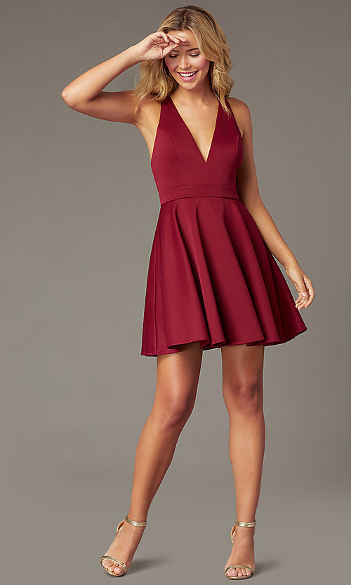 Image of deep-v-neck short fit-and-flare party dress. Style: LP-26429 Front Image
