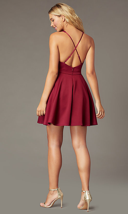 Image of deep-v-neck short fit-and-flare party dress. Style: LP-26429 Back Image