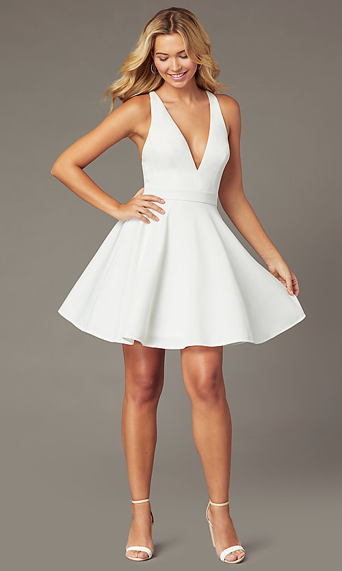 Image of deep-v-neck short fit-and-flare party dress. Style: LP-26429 Detail Image 2