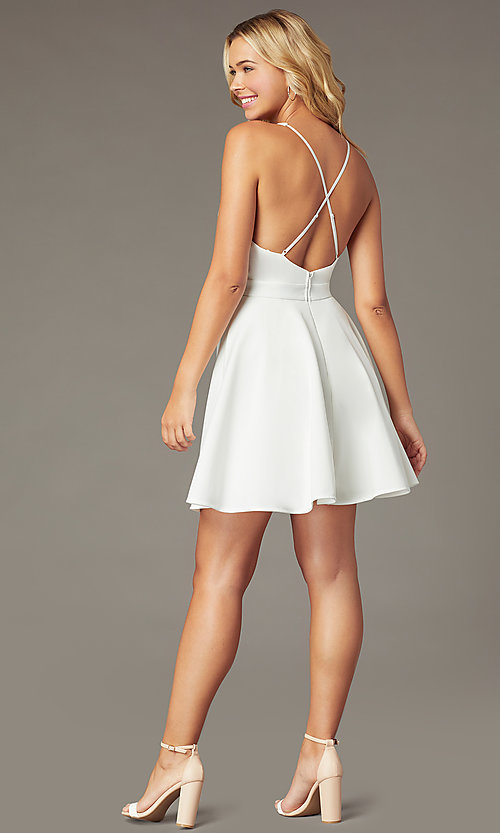 Image of deep-v-neck short fit-and-flare party dress. Style: LP-26429 Detail Image 3