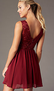 Image of embroidered-sheer-bodice short homecoming dress. Style: LP-27788 Detail Image 5