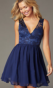 Image of embroidered-sheer-bodice short homecoming dress. Style: LP-27788 Front Image