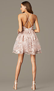 Image of short homecoming party dress with ribbon applique. Style: LP-26506 Back Image