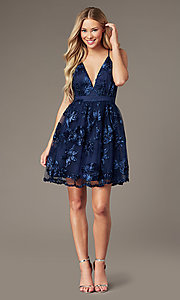 Image of short homecoming party dress with ribbon applique. Style: LP-26506 Detail Image 5