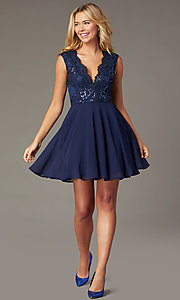 Image of navy blue short sequin-bodice homecoming dress. Style: LP-27826 Detail Image 1
