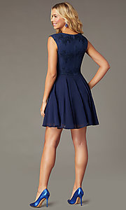 Image of navy blue short sequin-bodice homecoming dress. Style: LP-27826 Back Image