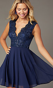 Image of navy blue short sequin-bodice homecoming dress. Style: LP-27826 Front Image