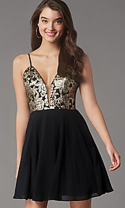 Image of sequin-bodice short black chiffon homecoming dress. Style: LP-PL-26555 Front Image