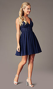 Image of navy embroidered-applique-bodice short hoco dress. Style: LP-PL-28042 Detail Image 1