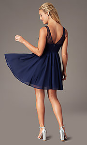 Image of navy embroidered-applique-bodice short hoco dress. Style: LP-PL-28042 Back Image