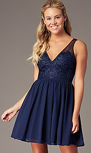 Image of navy embroidered-applique-bodice short hoco dress. Style: LP-PL-28042 Front Image