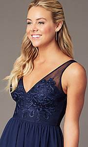 Image of navy embroidered-applique-bodice short hoco dress. Style: LP-PL-28042 Detail Image 2