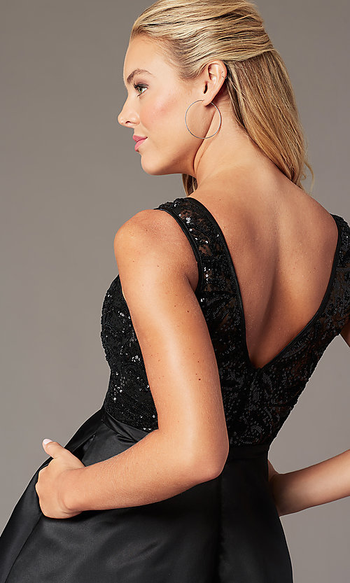 Image of short sequin-bodice black satin homecoming dress. Style: LP-PL-26460 Detail Image 2