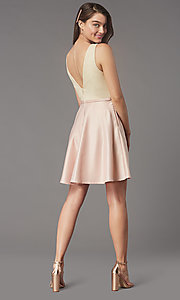 Image of short sequin-bodice satin homecoming party dress. Style: LP-PL-25772S Detail Image 4