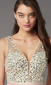 Image of short sequin-bodice satin homecoming party dress. Style: LP-PL-25772S Detail Image 5