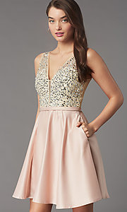 Image of short sequin-bodice satin homecoming party dress. Style: LP-PL-25772S Detail Image 6