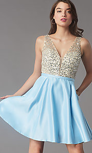 Image of short sequin-bodice satin homecoming party dress. Style: LP-PL-25772S Front Image