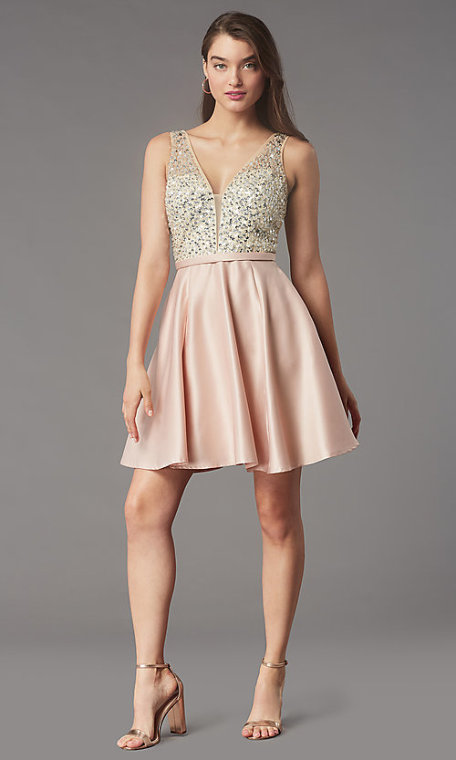 Image of short sequin-bodice satin homecoming party dress. Style: LP-PL-25772S Detail Image 3
